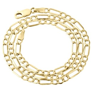 Other Mens Real 10k Yellow Gold Figaro Chain 4mm Necklace High Polished 16-30 Inches