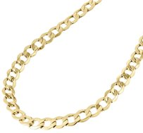 Mens Real 10k Yellow Gold Hollow Cuban Curb Link Chain Necklace 6.50mm 20-30
