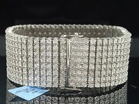 Jewelry For Less Mens Row .925 Sterling Silver 5ct. White Diamond Tennis Bracelet Bangle Fanook