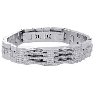 Jewelry For Less Mens Stainless Steel Genuine White Diamond Bangle Bracelet 13mm Id Link 1.75 Ct.