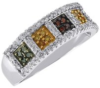 Multicolor Diamond Fashion Band 10k White Gold Round Cocktail Ring 0.50 Ct.