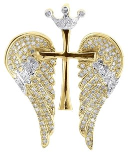 Diamond,Cross,Wings,Pendant,Mens,10k,Yellow,Gold,Round,Pave,Crown,Charm,0.38,Tcw