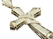 Diamond,Cross,Designer,Curtain,Pendant,Mens,10k,Yellow,Gold,Charm,1.80,Ctw.