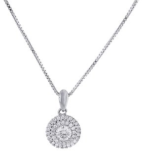 Round,Diamond,Solitaire,Pendant,10k,White,Gold,Necklace,With,Chain,.50,Ct.