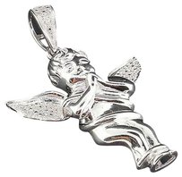 Diamond,Mini,Angel,Pendant,Mens,White,Gold,Finish,Round,Cut,Pave,Charm,0.20,Ct.