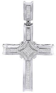 Diamond,Cross,Pendant,10k,White,Gold,Mens,Domed,Round,Cut,Fashion,Charm,0.50,Ct.