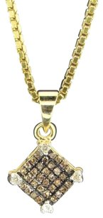 Champagne,Brown,Diamond,Square,Pendant,10k,Yellow,Gold,0.15,Ct,Charm,With,Chain