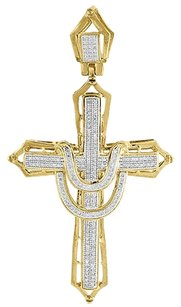 Diamond,Cross,Charm,10k,Yellow,Gold,Mens,Round,Cut,Fashion,Pave,Pendant,0.55,Ct.