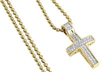 Diamond,Cross,Pendant,Mini,Jesus,Piece,.925,Charm,0.33,Ct,With,Moon-cut,Chain,