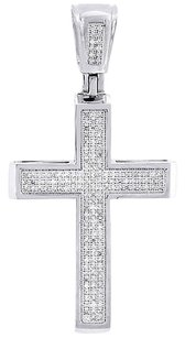 White,Gold,Diamond,Cross,Charm,Mens,Round,Cut,Fashion,Pave,Pendant,0.50,Ct.