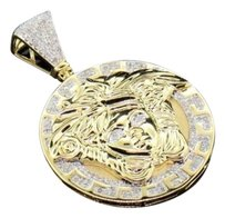 10k,Yellow,Gold,Mens,Diamond,Mini,Medusa,Head,Piece,Greek,Pendant,Charm,0.75,Ct.