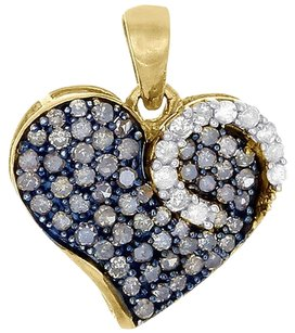 Brown,Diamond,Heart,Pendant,10k,Yellow,Gold,Round,Cut,Fashion,Charm,0.75,Ct.