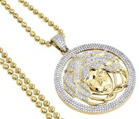 Diamond,Medusa,Head,Pendant,10k,Yellow,Gold,Pave,Charm,Chain,Set,2.20,Ct.