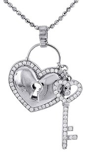 Diamond,Heart,Lock,Key,Pendant,10k,White,Gold,Charm,W,Beaded,Chain,1.45,Ct.