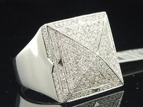 Jewelry For Less Pinky Ring Round Diamond 14k White Gold Square Face Mens Designer Band 1.63 Ct.