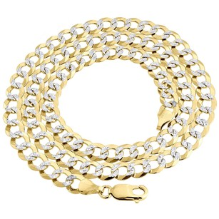Real 10k Yellow Gold Solid Diamond Cut Mm Cuban Link Chain Necklace 20 - 30