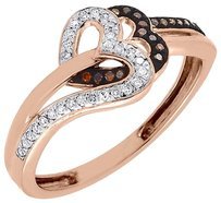 Other Red Diamond Double Heart Cocktail Ring 10k Rose Gold Round Fashion Band 0.15 Ct.