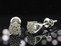 Jewelry For Less Round Cut Diamond Studs Mens Ladies 10k White Gold Designer Earrings .12 Ct.