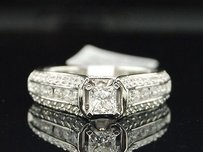 Princess Solitaire Diamond 14k White Gold Ladies Wedding Engagement Ring 1 Ct.