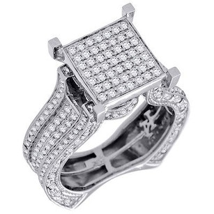 Diamond Engagement Wedding Ring 10k White Gold Fashion Square Pave Head 1.25 Ct.
