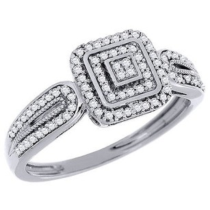 Diamond Cluster Engagement Wedding Ring 10k White Gold Pave Square Head 0.20 Ct.
