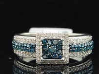 Blue Diamond Engagement Ring .925 Sterling Silver Round Cut 12 Ct