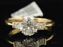 Round Solitaire Diamond Engagement Ring 14k Yellow Gold Princess Cut 1.24 Ct