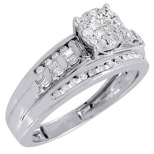 Diamond Engagement Bridal Wedding Ring White Gold Princess Cut Round Head 12 Ct