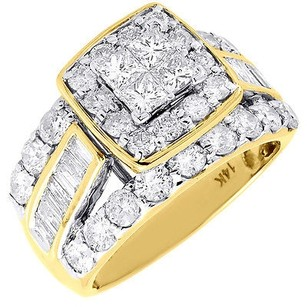 Diamond Wedding Engagement Ring 14k Yellow Gold Princess Cut Halo Style 2.98 Ctw