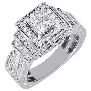 Diamond Engagement Ring 14k White Gold Princess Cut Antique Wedding 1.50 Tcw.