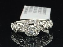 Solitaire Diamond Halo Engagement Ring 14k White Gold Flower Design 12 Ct