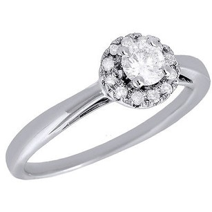 10k White Gold Round Cut Solitaire Diamond Wedding Engagement Halo Ring 0.33 Ct.