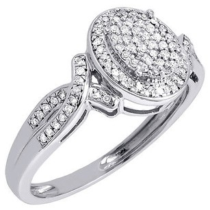 Diamond Infinity Oval 10k White Gold Round Cut Engagement Wedding Ring 14 Ct.