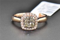 Champagne Brown Diamond Engagement Ring Round Cut Halo 14k Rose Gold 0.48 Ct
