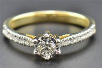 Solitaire Diamond Engagement Ring Ladies Round Cut 10k Yellow Gold 0.33 Ct