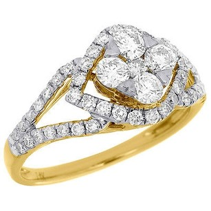 14k Yellow Gold Round Cut Diamond Engagement Wedding Ring Antique Halo 0.98 Ct.