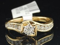 Round Solitaire Diamond Engagement Ring 14k Yellow Gold Channel Set 12 Ct