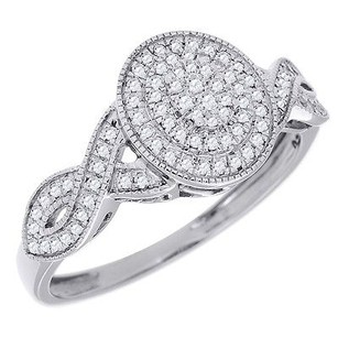 10k White Gold Diamond Engagement Wedding Ring Round Cut Halo Style 14 Ct.