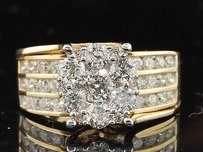 Diamond Engagement Ring 14k Yellow Gold Solitaire Flower Set Round Cut 2 Ct