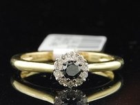 Black Solitaire Diamond Engagement Ring 10k Yellow Gold Halo Round Cut 14 Ct