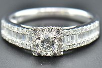 Solitaire Diamond Engagement Ring 18k White Gold Baguette Round Cut 1.15 Ct
