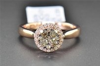 Champagne Brown Diamond Engagement Ring Round Cut Halo 14k Rose Gold 0.46 Ct