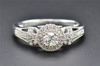 Diamond Engagement Ring 10k White Gold Round Cut Solitaire Cross Band 0.40 Ct