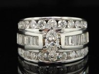 Marquise Solitaire Diamond Engagement Ring 14k White Gold Round Ct 3 Ct