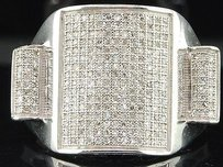 Diamond Square Statement Ring 925 Sterling Silver Round Pave Domed Band 0.79 Ct.