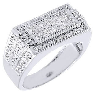 Diamond Pinky Ring .925 Sterling Silver Rectangle Pave Band 0.25 Ct