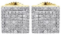 Diamond,Earrings,Mens,10k,Yellow,Gold,Round,Cut,Square,Studs,Fully,Iced,0.25,Tcw