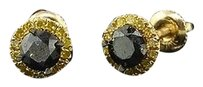 Mens,Ladies,10k,Yellow,Gold,Black,Round,Solitaire,Diamond,Earrings,Halo,Studs