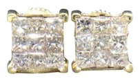 Diamond,Studs,14k,Yellow,Gold,1.01,Ct,Princess,Cut,4,Prong,Square,Earrings
