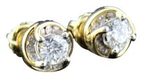 Mens,Ladies,14k,Yellow,Gold,Round,Cut,Solitaire,Diamond,Studs,Earrings,0.75,Ct.